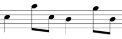 6 notes on a stave