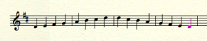 Written music - D scale, single bowstrokes
