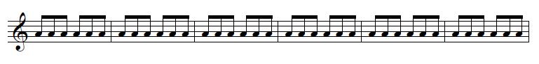 Jig rhythm witten on a stave